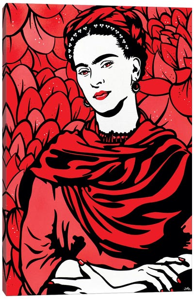 Frida Kahlo On Red Canvas Art Print