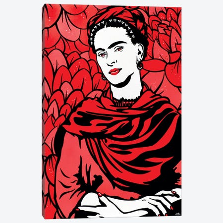 Frida Kahlo On Red Canvas Print #JLE47} by James Lee Canvas Art