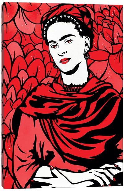 Frida Kahlo On Red Canvas Art Print