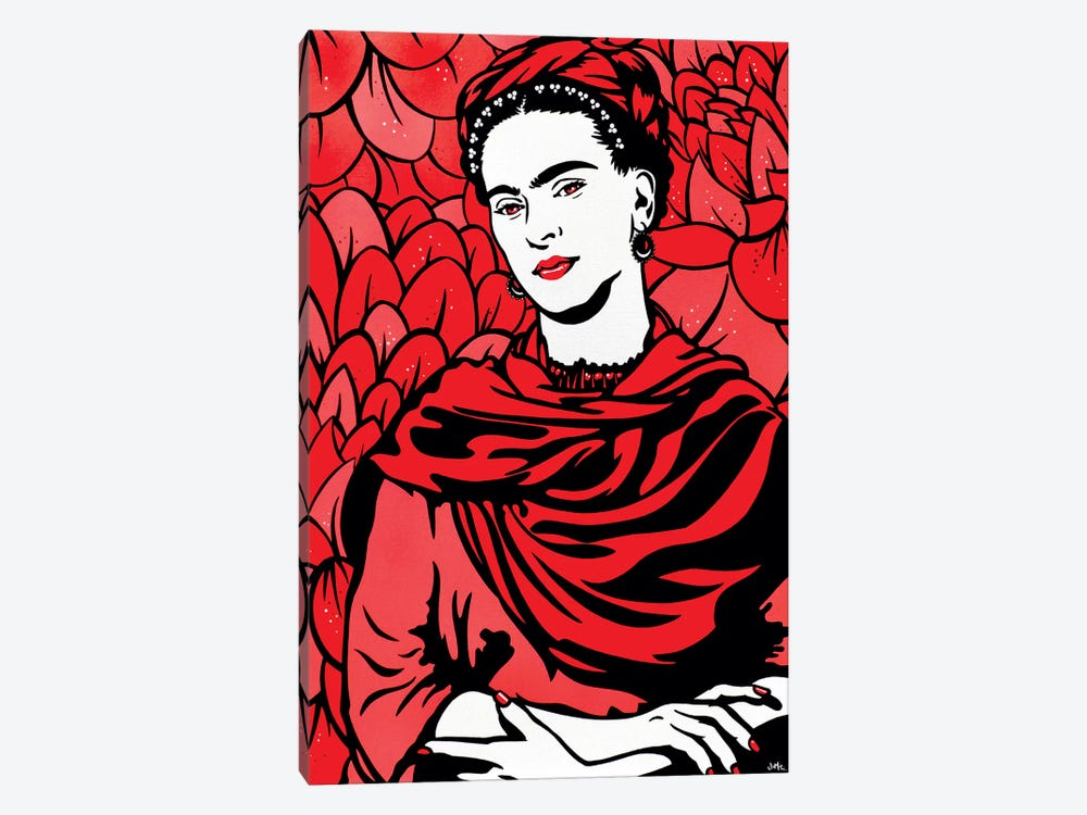Frida Kahlo On Red by James Lee 1-piece Canvas Art Print