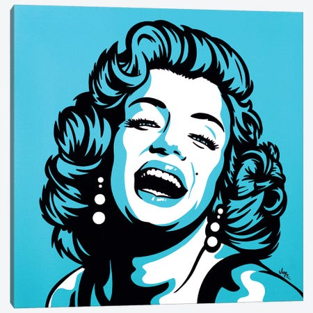 Marilyn Monroe On Turquoise Canvas Print #JLE53} by James Lee Canvas Artwork