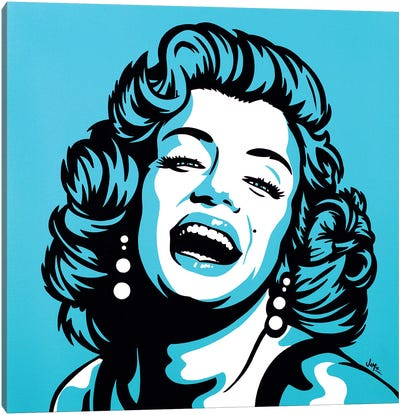 Marilyn Monroe On Turquoise Canvas Art Print