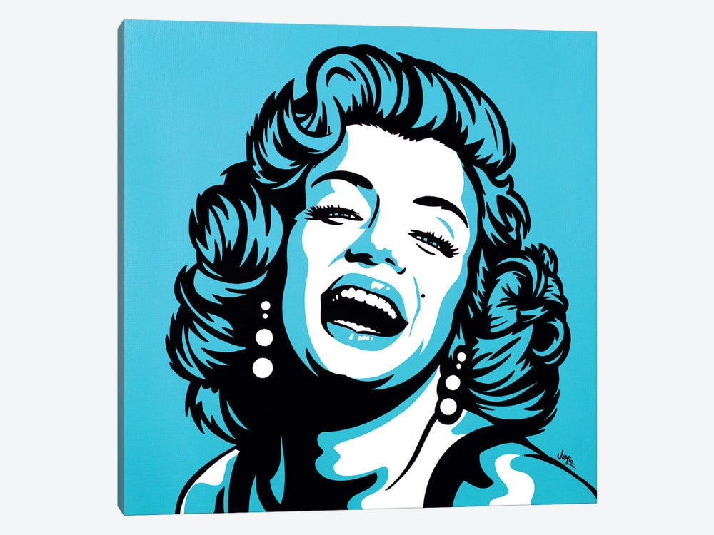 Marilyn Monroe On Turquoise 1-piece Canvas Art