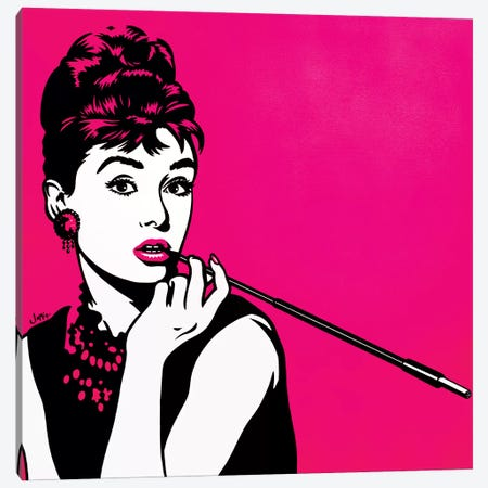 Audrey Hepburn Pink Canvas Print #JLE5} by James Lee Art Print