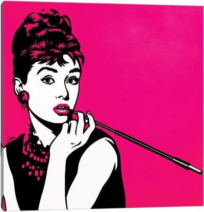Audrey Hepburn Pink Canvas Art Print