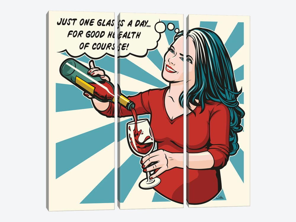One Glass A Day by James Lee 3-piece Canvas Art Print