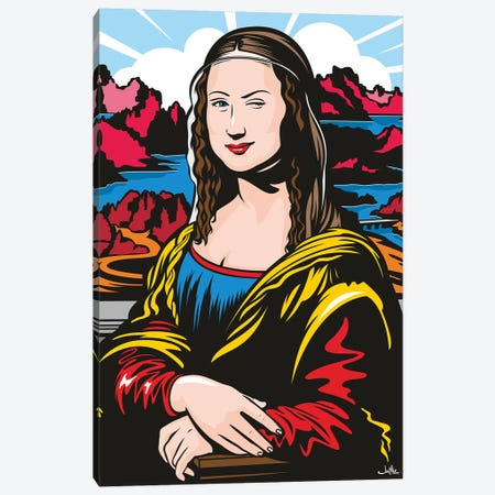 Winking Mona 3-Piece Canvas #JLE74} by James Lee Canvas Print
