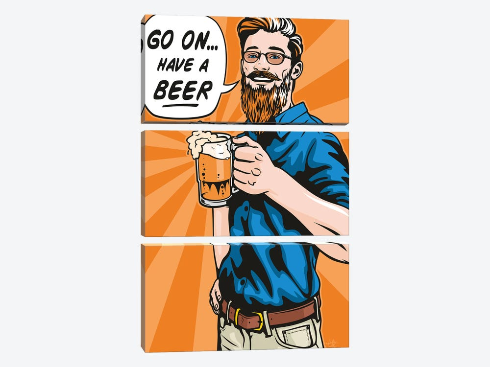 Have A Beer! by James Lee 3-piece Canvas Print