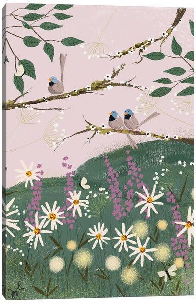 Blue Finches Canvas Art Print