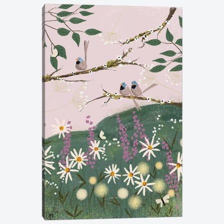 Blue Finches Canvas Print #JLF12} by Joy Laforme Art Print