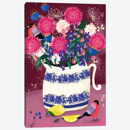 Dahlias Canvas Print #JLF17} by Joy Laforme Canvas Art