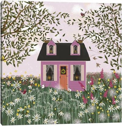 Purple House On A Hill Canvas Art Print