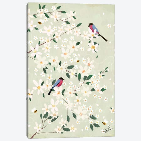 Apple Blossom Bullfinches Canvas Print #JLF3} by Joy Laforme Canvas Print