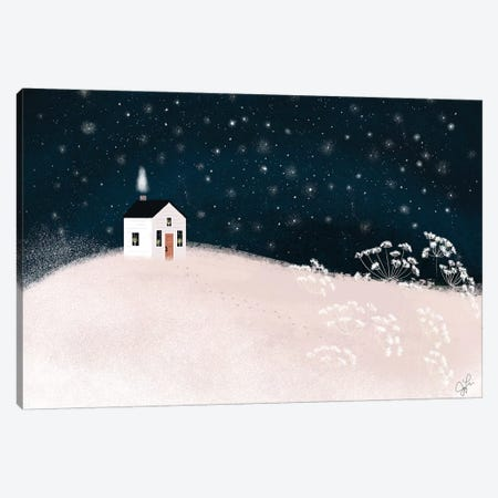 Starry Snowy Night Canvas Print #JLF42} by Joy Laforme Canvas Wall Art