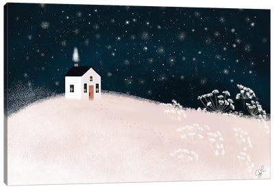 Starry Snowy Night Canvas Art Print