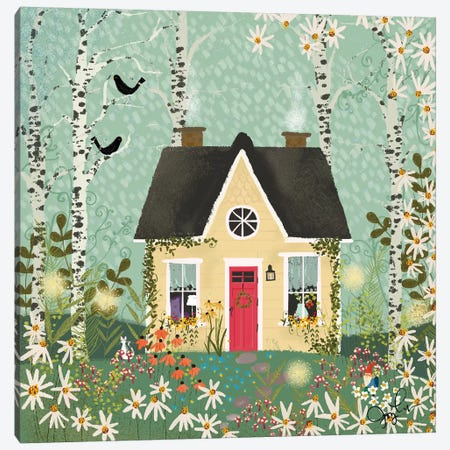 Yellow House In The Forest Canvas Print #JLF54} by Joy Laforme Canvas Art