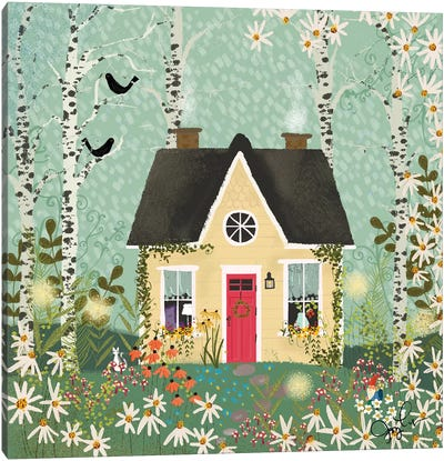 Yellow House In The Forest Canvas Art Print