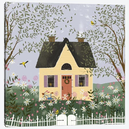 Yellow House On A Hill Canvas Print #JLF55} by Joy Laforme Canvas Artwork