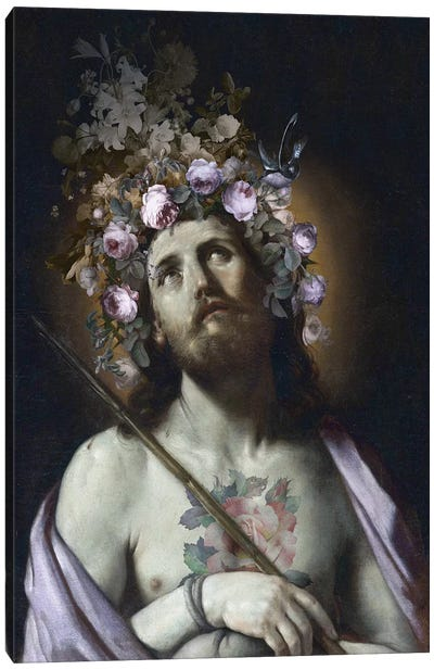 Christ With Flowers Canvas Art Print