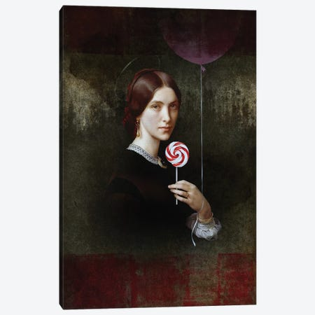 Portrait Of Woman With Lollipop And Balloon Canvas Print #JLG99} by José Luis Guerrero Canvas Wall Art