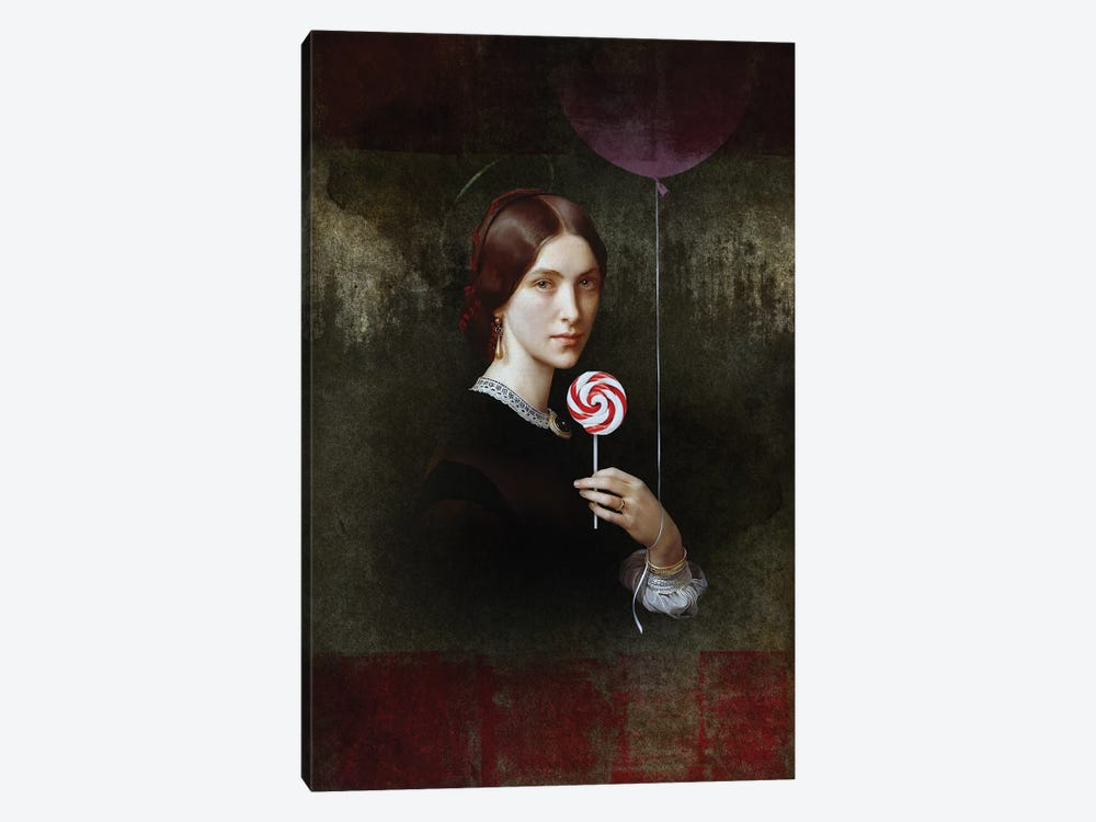 Portrait Of Woman With Lollipop And Balloon by José Luis Guerrero 1-piece Canvas Print