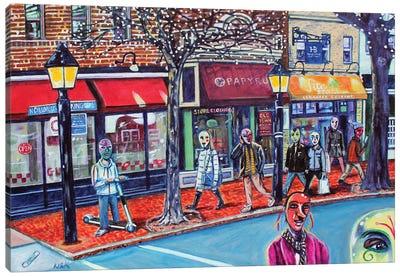 Masks On King Street Canvas Art Print
