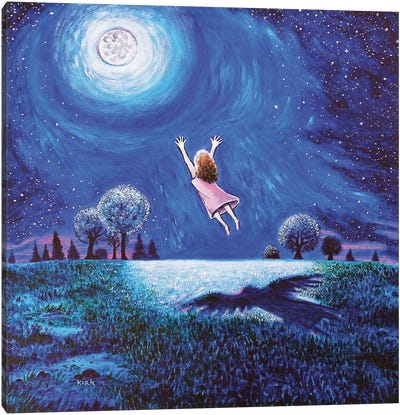 Big Moon Hug Canvas Art Print