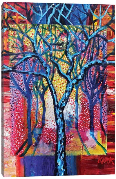 Blue Trees In An Abstract Landscape Canvas Art Print