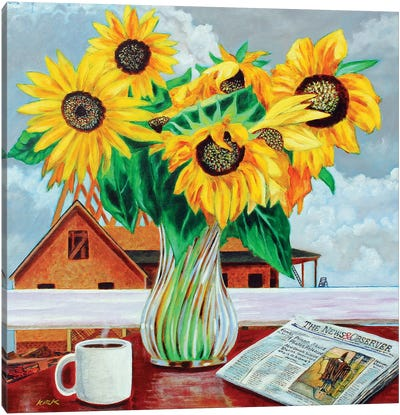 Contemplating Sunflowers Canvas Art Print