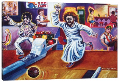 Elvis And Jesus Bowling Canvas Art Print
