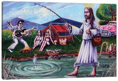 Elvis And Jesus Camping Canvas Art Print