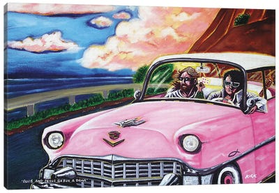 Elvis And Jesus Go For A Drive Canvas Art Print