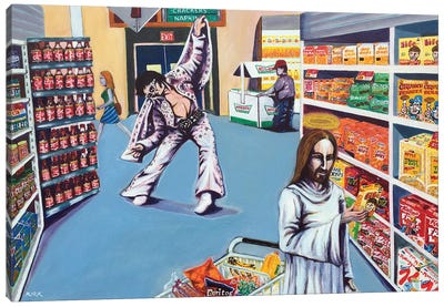Elvis And Jesus Go Grocery Shopping Canvas Art Print