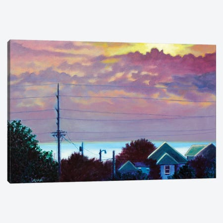 Sunset Over Pamlico Sound Canvas Print #JLK64} by Jerry Lee Kirk Canvas Artwork
