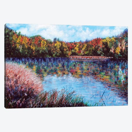 The Lake At Crowders Mountain Canvas Print #JLK71} by Jerry Lee Kirk Canvas Wall Art