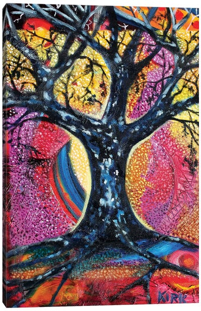 Tree In An Abstract Landscape Canvas Art Print