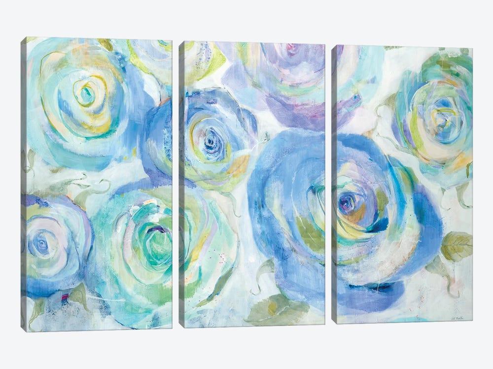 Blue Roses by Jill Martin 3-piece Canvas Wall Art