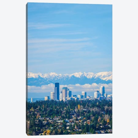 USA, Washington State. Seattle skyline and Olympic mountains 3-Piece Canvas #JLM5} by Merrill Images Art Print