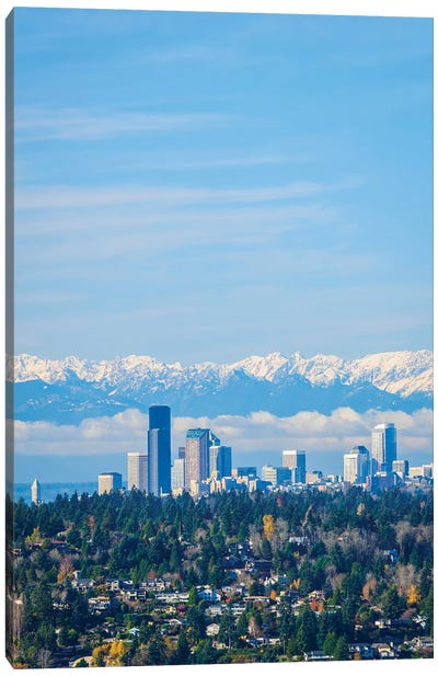 USA, Washington State. Seattle skyline and Olympic mountains Canvas Art Print