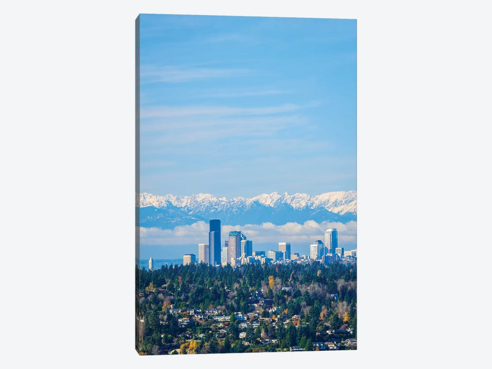USA, Washington State. Seattle skyline and Olympic mountains by Merrill Images 1-piece Canvas Art