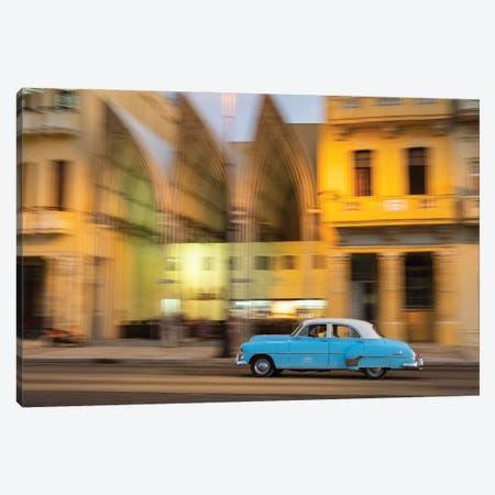 Cuba, Havana, classic car in motion at dusk on Malecon. Canvas Print #JLM7} by Merrill Images Canvas Art Print