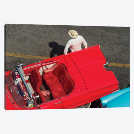 Cuba, Havana, Havana Vieja (Old Havana), red classic convertible and driver, viewed from above. Canvas Print #JLM8} by Merrill Images Canvas Artwork