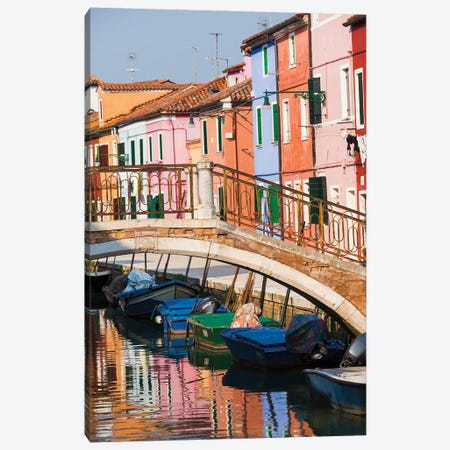 Italy, Burano. Reflection of colorful houses in canal. Canvas Print #JLM9} by Merrill Images Canvas Art