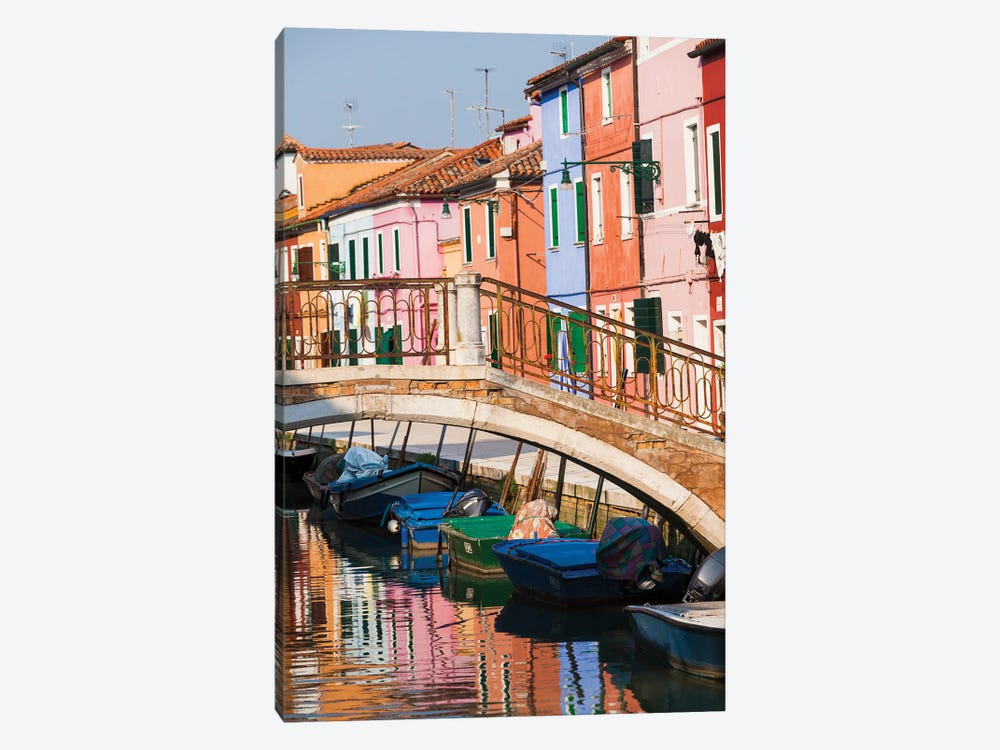 Italy, Burano. Reflection of colorful houses in canal. by Merrill Images 1-piece Canvas Art