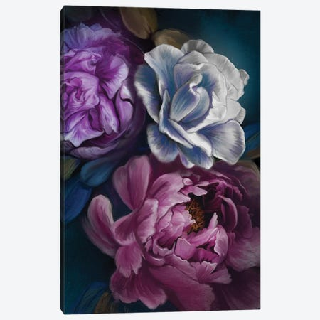 Dark Flowers Canvas Print #JLO31} by Juliana Loomer Canvas Artwork