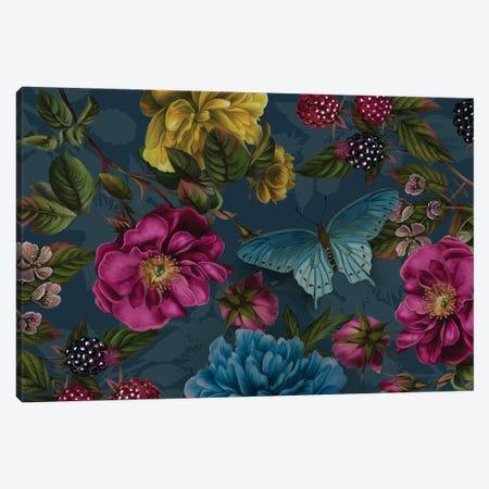 Teal Rose Garden Canvas Print #JLO34} by Juliana Loomer Art Print