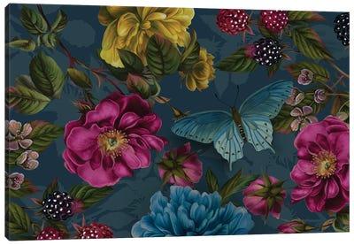 Teal Rose Garden Canvas Art Print