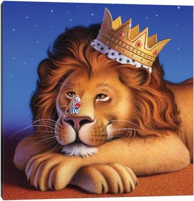 Lion King & Mouse Canvas Art Print