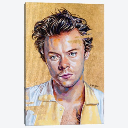 Harry Styles Canvas Print #JLU12} by Jackie Liu Canvas Wall Art