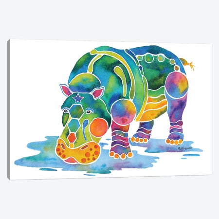 Hippopotamus Canvas Print #JLY100} by Jo Lynch Canvas Artwork
